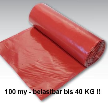 LDPE-Abfallsäcke, rot, 120 L, 15 Sack, extrem belastbar auf OBE-Boden.de